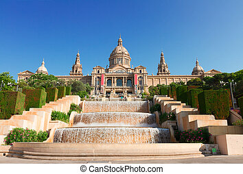 Square of Spain, Barcelona - view of National museum of...