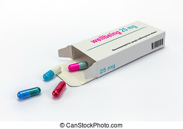 Open medicine packet labelled wellbeing opened at one end to...