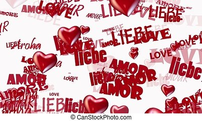 Inscriptions Love in various languages with hearts in red on...