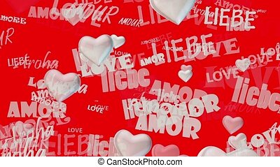 Inscriptions Love in various languages with hearts in white...
