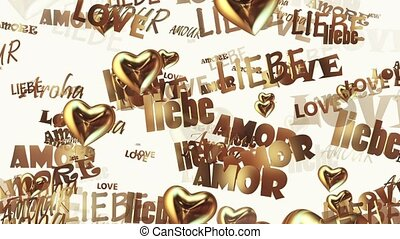 Inscriptions Love in various languages with hearts in golden...