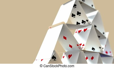 Falling House of Cards with Alpha - Animation of a falling...