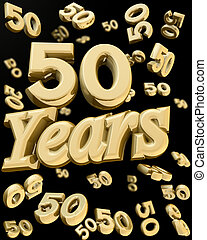 Golden 50 years anniversary - 50 years anniversary word with...
