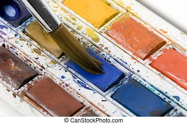 Using watercolor paints - Water color paints being mixed