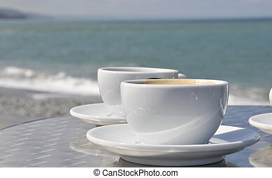 Coffee on beach - Coffee by the seaside