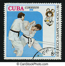 postmark - CUBA - CIRCA 1980: A stamp printed by Cuba, shows...