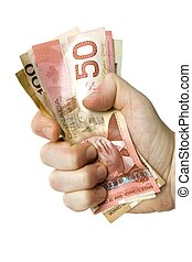 Canadian money hand - Hand grabbing canadian dollars
