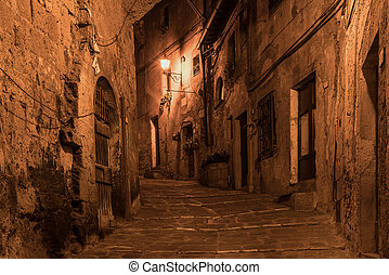 Sorano street at night