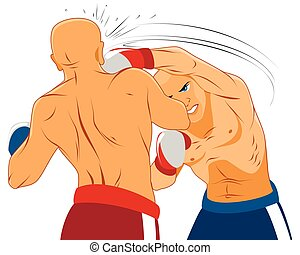 Two boxers on ring