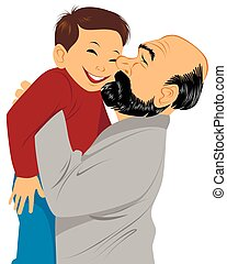 Grandfather holds grandson in hands - Vector illustration of...