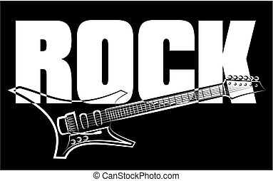rock music guitar - black and white vector electric guitar
