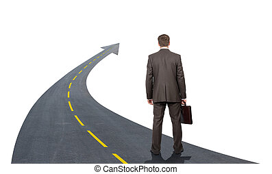 Businessman walking road going up llike arrow isolated on...