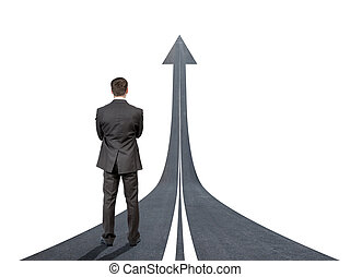 Businessman standing on road going up llike arrow isolated...