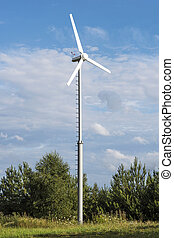 Eco nature energy - Clean energy white wind turbine in green...