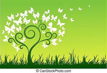 Butterfly tree - Green background with tree and white...