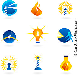 Light and fire icons - Collection of light and fire icons...