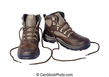 Hiking Boots - New hiking boots posing on white background