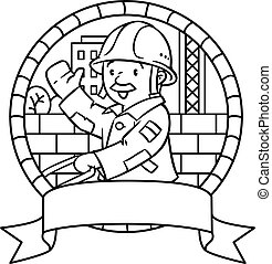 Coloring book or emblem of funny worker with cart - Coloring...