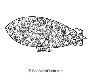 Dirigible aircraft coloring book for adults vector...