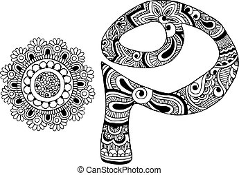 letter P decorated in mehndi style - letter and pattern in...