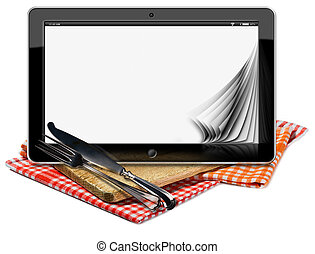 Tablet Pc on the Wooden Cutting Board