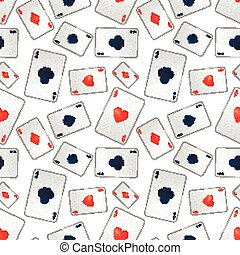 Poker aces on white, seamless pattern