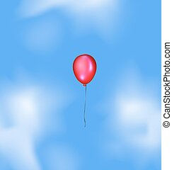 blue sky and red balloon - blue sky, clouds and flying red...