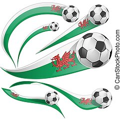 wales flag set with soccer ball