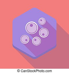 Long shadow hexagon icon with oocytes - Illustration of a...