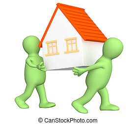 New house - Two puppets withs house. Isolated over white