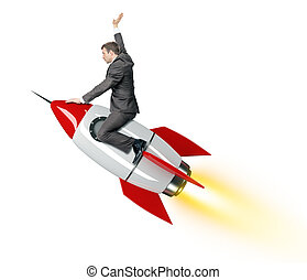Businessman riding red rocket isolated on white background