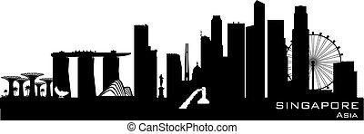 Singapore city skyline vector silhouette - Singapore skyline...