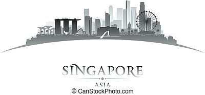 Singapore city skyline silhouette white background -...