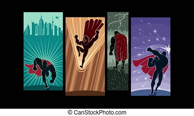 Superhero Intro - Looping animation with comic book...