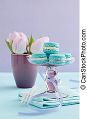 Macarons on cake stand - Turquoise macarons with buttercream...