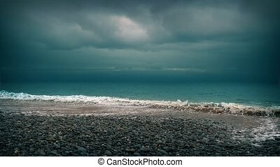 Dramatic Beach Shore - Ominous moody beach with cinematic...