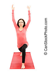 Crescent pose from front - Woman doing crescent pose. Front...