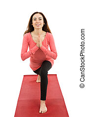 Crescent pose with namaste - Attractive caucasian woman...