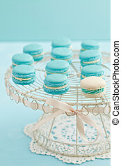 Macarons on cake stand - Turquoise and white macarons with...