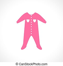 Vector illustration of a pink jumpsuit. Sleep and play suit....
