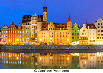 Old Town and Motlawa River in Gdansk, Poland - Old Town of...