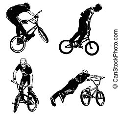 bmx cyclist illustration - vector