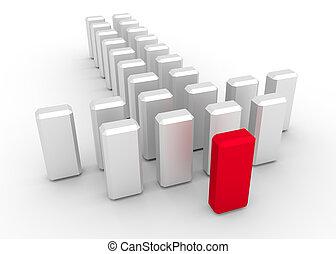 Leadership concept Team work - 3d illustration of leader...
