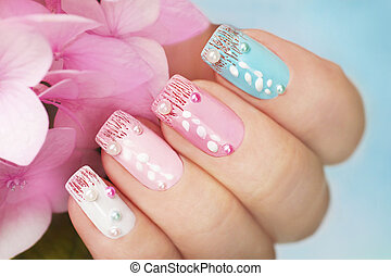 Colored manicure with hydrangea. - Colored manicure with...