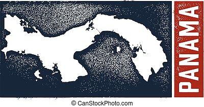 Vintage Style Panama Map - Vintage distressed style Panama...