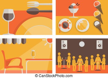 Set of hostelry flat colored backgrounds vector. All...