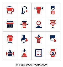 Set color icons of water filters isolated on white Vector...