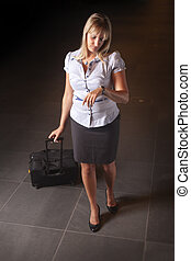 business woman looking at the watch