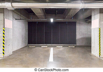 Parking garage underground - empty Parking garage...