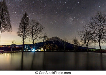 Fujisan with Star and milkyway - Mount Fuji Fujisan with...